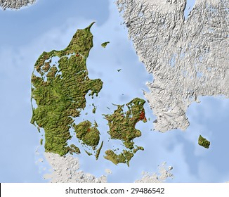 Denmark. Shaded relief map. Surrounding territory greyed out. Colored according to vegetation. Includes clip path for the state area.