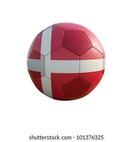denmark soccer ball isolated on white