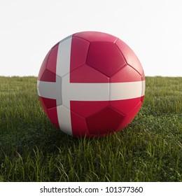 denmark soccer ball isolated on grass