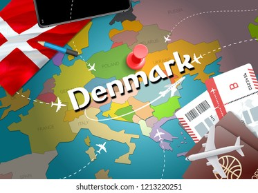 Denmark travel concept map background with planes, tickets. Visit Denmark travel and tourism destination concept. Denmark flag on map. Planes and flights to Danish holidays to Copenhagen,Aalborg