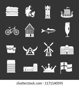 Denmark travel icons set white isolated on grey background