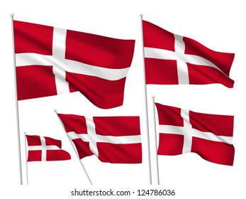 Denmark vector flags set. 5 wavy 3D cloth pennants fluttering on the wind. EPS 8 created using gradient meshes isolated on white background. Five fabric flagstaff design elements from world collection