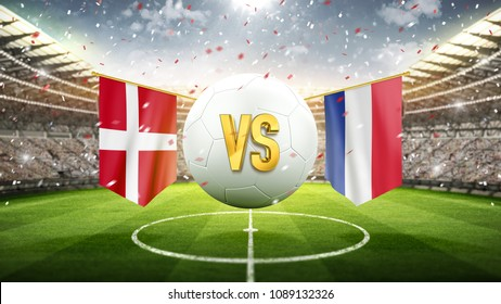 Denmark vs France. Soccer concept. White soccer ball with the flag in the stadium, 2018. 3d render