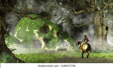 In a dense forest, a Native American woman on horseback approaches the moss covered bones of a long dead giant.  3D Rendering