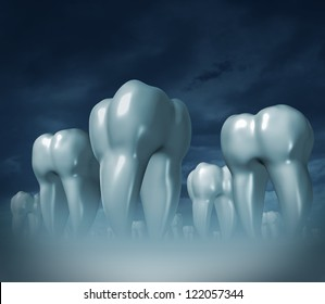 Dental care and medical tooth health symbol of oral hygiene with a health care landscape of giant three dimensional molar teeth on a dark foggy background.