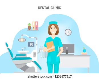 Dental clinic. Conceptual banner flat design isolated. Caucasian female doctor in the office. Dental chair, computer and equipment.