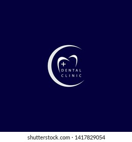 dental clinic logo with simple tooth shape and clinical logo on the left side and crescent moon make this design. unique, modern, elegant, mature.