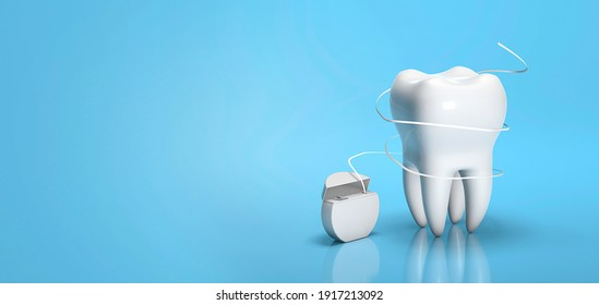Dental floss. Flossing your teeth. Tooth and dental floss on a blue background. Copy space for text. 3d render.