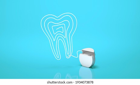 Dental floss. Flossing your teeth. Tooth made from dental floss on a blue background. 3d render.