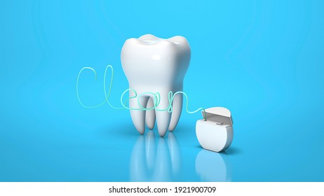 Dental floss in the form of the word CLEAN and tooth on a blue background. 3d render.