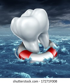 Dental help protection as a medical dentistry concept with a white molar tooth saved by a lifesaver or lifebelt as a metaphor for fighting against tooth decay and cavities on an ocean storm scene.