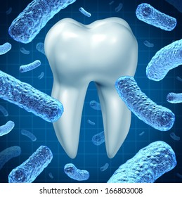 Dental hygiene oral health symbol with a single molar and a group of three dimensional bacteria causing tooth disease destroying enamel resulting in cavities and gum disease on a white background.