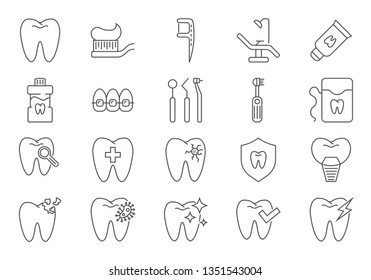 Dental Icons Set. Dental Related Line Icons Set. Isolated on White Background. Editable Stroke.