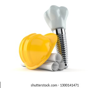 Dental implant with blueprints isolated on white background. 3d illustration