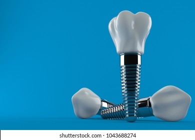 Dental implant isolated on blue background. 3d illustration