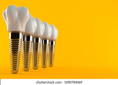 Dental implant isolated on orange background. 3d illustration