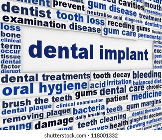 Dental implant medical message background. Dental surgery poster design