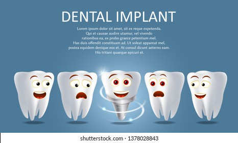 Dental implant poster banner template. realistic illustration. Healthy human teeth and tooth prosthesis. Tooth restoration replacement concept.