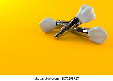 Dental implants isolated on orange background. 3d illustration