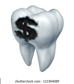 Dental insurance plan and medical costs pertaining to teeth as a dentistry concept with a white tooth and a black cavity in a shape of a dollar sign as a tooth decay  health care expenses.