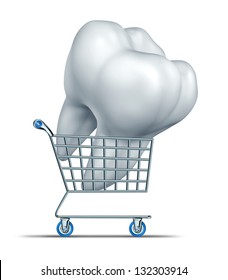 Dental insurance shopping and choosing a tooth protection strategy as a medical group plan that lowers the price of oral care as braces root canal and fixing teeth costs with a cart carrying a molar.