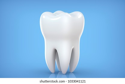 Dental model of premolar tooth, 3d rendering on blue backgroun. 3d illustration as a concept of dental examination teeth, dental health and hygiene.