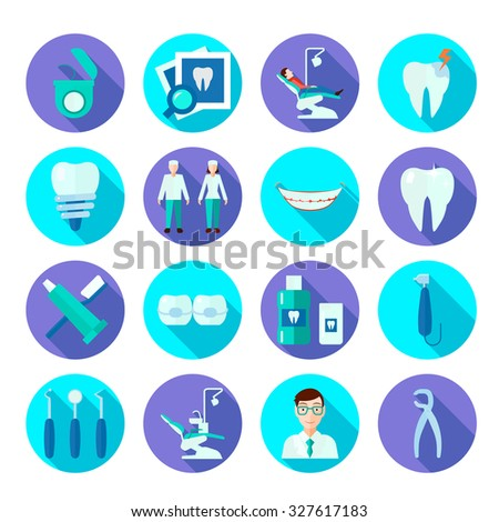 Dental Tools Doctor Tooth Care Symbols Stock Illustration 327617183
