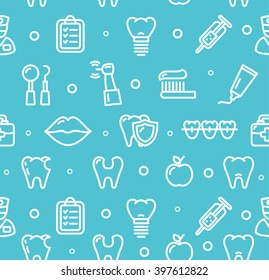 Dental Tooth Clinic Background Pattern on Blue. illustration