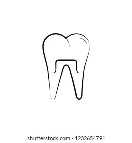 dental treatment, tooth icon. Element of dantist for mobile concept and web apps illustration. Hand drawn icon for website design and development, app development