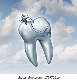 Dentist advice for dental health care and teeth checkup medical concept with a doctor in uniform riding and guiding a human tooth with a harness as a metaphor for dentistry success.