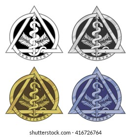 Dentistry Symbol - Four Versions is an Illustration of the dentistry symbol in a black and white, silver, gold and blue version.