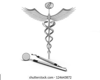 Dentistry symbol on white background.