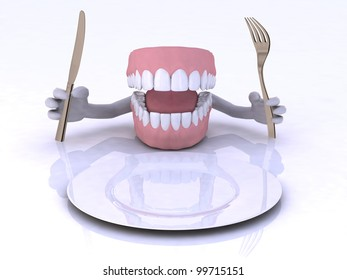 dentures with hands and cutlery in front of an empty plate