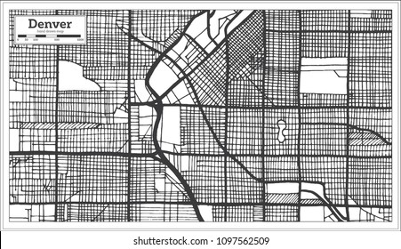 Denver USA City Map in Retro Style. Outline Map.