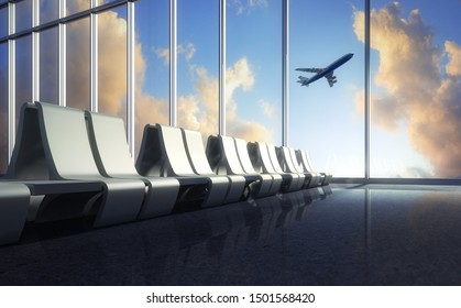 Departure area with view to a starting airplane - 3D illustration