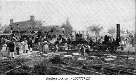 Departure of a train on the first line built by Stephenson between Stockton and Darlington, vintage engraved illustration. From the Universe and Humanity, 1910.