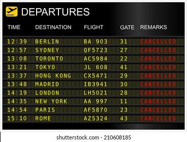 Departures board. Cancelled flights