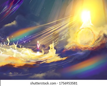 Depiction of Daniel 7 heavenly judgment scene, investigative religious illustration imagery, with rainbow. Prophecy.