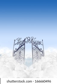 A depiction of the entrance to cloud nine in the clouds under a clear blue sky background