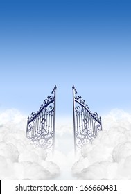 A depiction of the gates to heaven in the clouds open under a clear blue sky background