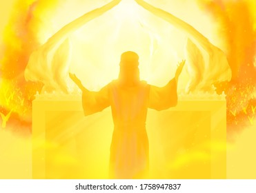 Depiction of Jesus the Intercessor, the Son of man and High Priest, ministering in the heavenly sanctuary according to Hebrews, New Testament religious illustration imagery. Ark of the covenant.