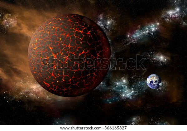 A depiction of the mythical planet known as Nibiru or Planet X as it hurtles toward a cataclysmic rendezvous with Earth. -  Elements of this image furnished by NASA