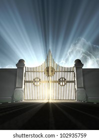 A depiction of the pearly gates of heaven with the bright side of heaven contrasting with the duller foreground