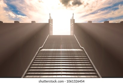 A depiction of the pearly gates of heaven open with the bright side contrasting with the duller foreground and a stairway leading up to it - 3D render