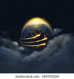 Depiction of the Three Angels' Messages of Revelation 14 prophecy, showing three lights encircling the Earth. Illustration 3d rendering.