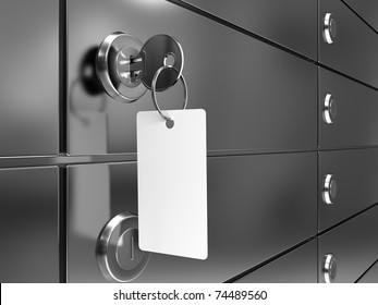 Deposit box with key and blank label