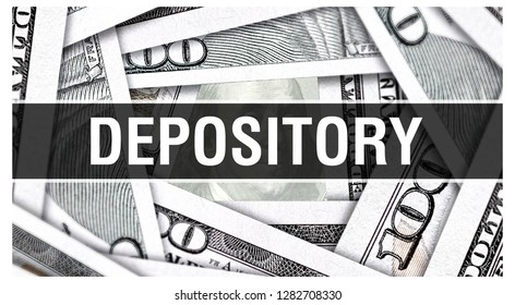 Depository Closeup Concept. American Dollars Cash Money,3D rendering. Depository at Dollar Banknote. Financial USA money banknote Commercial money investment profit concept