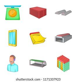 Depository icons set. Cartoon set of 9 depository icons for web isolated on white background