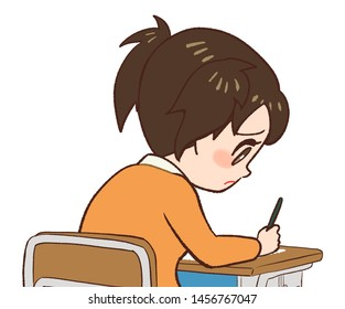 Depressed child sitting in a classroom chair