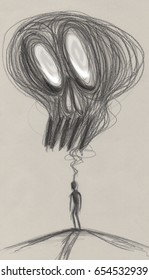 Depressed man overwhelmed by fear, concept illustration